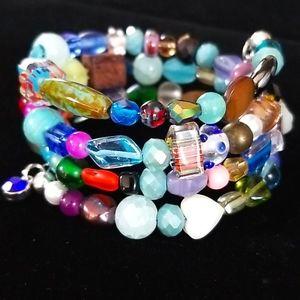 NWT Boho Beaded Semi-precious Wrap Bracelet